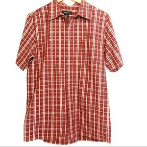 Calvin Klein Red Plaid Short Sleeve Button Up Med